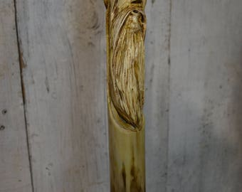 Carved Wood Spirit Face Cane - Hand Carved Sumac walking cane - mountain man - functional art - ren faire - 1645