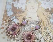 Fire Opal earrings, Boho statement earrings, pink flower and heart earrings, Marie Antoinette inspired flower earrings, Bohemian wedding