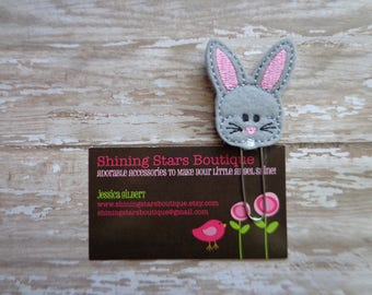 Paperclips - Gray/Grey And Pink Easter Bunny Rabbit Felt Paper Clip Or Bookmark - Spring Accessories For Planner - Holiday Clip