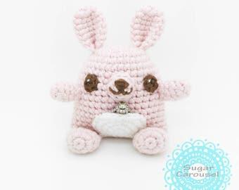 Twinkle Eyes Pastel Pink Trinket Bunny - handmade cute jewelry proposal engagement ideas wedding promise ring holder stuffed animal doll box