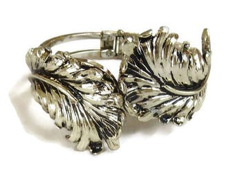 Antiqued Leaf Hinged Clamper Bracelet Vintage