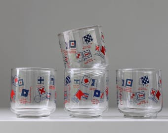Nautical Flag Glasses, Summer Barware, Beach Barware, Enco Glasses, Maritime Signal Flags, Summer Drinks, Vintage Cocktail Glasses, Boating