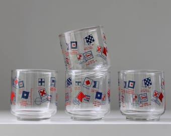 Nautical Flag Glasses, Summer Barware, Beach Barware, Enco Glasses, Maritime Signal Flags, Summer Drinks, Vintage Cocktail Glasses, Boating