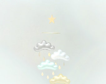 "Star Nursery cloud mobile ""PASTEL KSENIA"" by The Butter Flying-Light grey,white,light mint,light yellow"