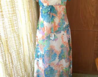 Vintage 60s 70s Maxi Dress with Empire Waist and Ruffle Detail at the Bust