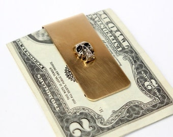Silver Skull Money Clip Brass Money Clip - Custom Engraving Available - 129