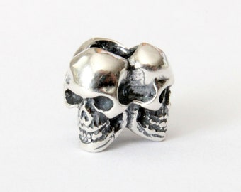 Triple Skull Charm - 925 Sterling Silver European Style Bracelet Bead - Fits: Pandora, Chamilia & Compatible Brands 544