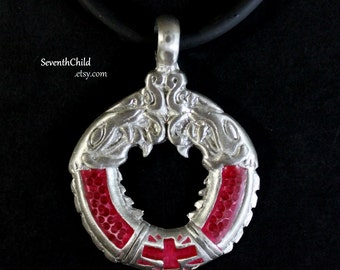 Celtic Dragon Circle - Pewter and Red Enamel Necklace - Viking Dragons - Faux Rubber Cord