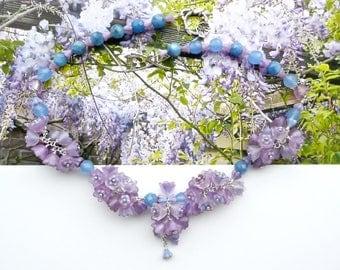 WISTERIA Cluster Statement, Purple Blue Bridal Choker, Flower Choker, Art Nouveau Choker, Handlinked Necklace, Cottage Chic Choker