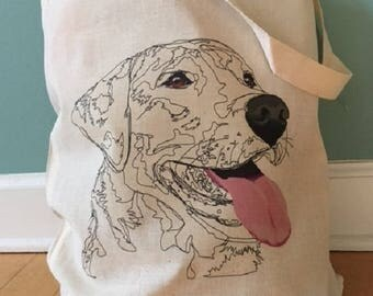 Dog Art Small tote bag, tote bag, doggy bag, cotton tote, purses and bags, Labrador Retriever tote, Dog Face Tote