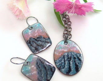 Copper Enameled Art Jewelry Set, Mountain Landscape Inspired Earrings and Pendant, WillOaks Studio, Original Kiln-fired Vitreous Enamel