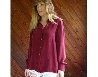 Maroon Silk l/s Button Down Blouse - Vintage 90s - M