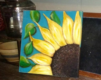 sunflower painting, sunflower wall decor, Summer decor. Spring decor, kitchen decor, sunflowers, garden decor, garden sign, flower painting,