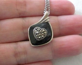 Vintage STERLING SILVER Signed DBJ Black Onyx & Marcasite Heart Pendant