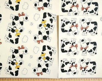 Cute Cow Decals for Ceramics, vintage, retro, cartoon, animal, farm animal, black and white-BULK LOT