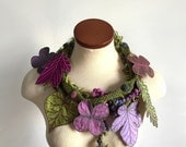 Leaf Scarf- Fern Green with Purple, Periwinkle, Magenta, and Peridot Embroidered Leaves- Fiber Art Scarf