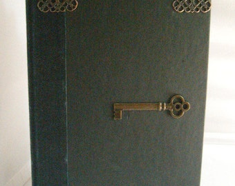 Upscaled  hollow book,   has brass embellishments, lined with skull paper,