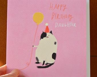 Happy Birthday Daughter Card - Birthday Cat Card - Daughter Birthday - Square Card