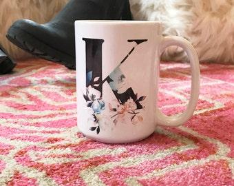 Floral Monogram Mug - Inspirational - Custom Coffee Mug - Tea - Gift - Personalize - Custom Mug