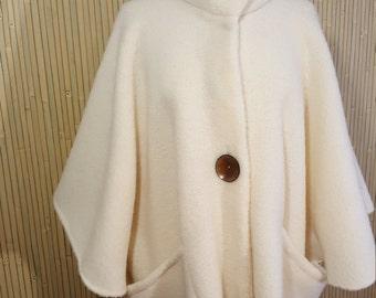 Cozy off white  wool Cardi cape