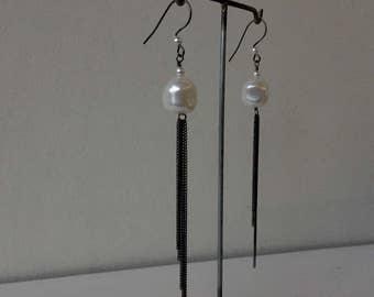 fringe earrings white
