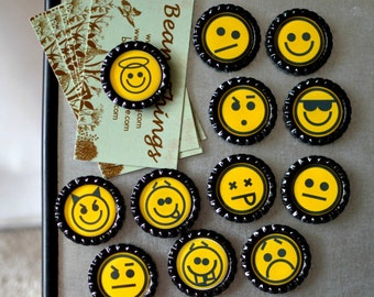 Emoji Bottlecap Magnets- Computer Gift- Emoticons Expressions- Therapy Aid- Occupational Therapist Gift, Teacher Gift- Classroom Magnets