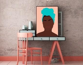 "Modern, Minimal Portrait ""Ava"" by Jules Tillman - Fine Art Lustre Print minimal woman abstract portraiture African American peach aqua black"