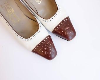 Vintage Two Tone Ferragamo Kitten Heels/ Small Heel Flat Brown White Brogues/ size 8 8.5