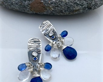 Wire wrapped sterling silver earrings with gemstones!