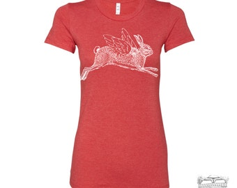 Womens Winged RABBIT T-Shirt -hand screen printed s m l xl xxl (+ Colors Available)