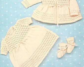 """PDF Knitting Pattern Baby Coat, Matching Dress and Bootees Size 18"""" (D7287)"""