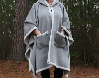 Silver Suede and Grey Sherpa Hooded Fleece Cape with Pockets Winter Warmth Wrap Poncho or Cloak