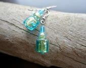 Elegant Glass Lampwork Bead Earrings   Blue and Green Dangle with Silver Accents
