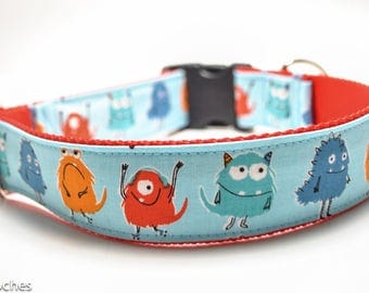 Cartoon Monster Dog Collar / Monster Lineup / 1.5 inch or 2 inch Wide Dog Collar