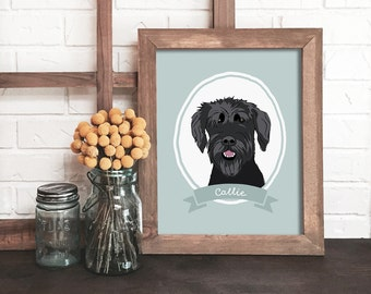 custom dog portrait, dog portrait, dog lover gift, personalized dog gift, pet keepsake, modern pet art, pet owner gift, dog memorial