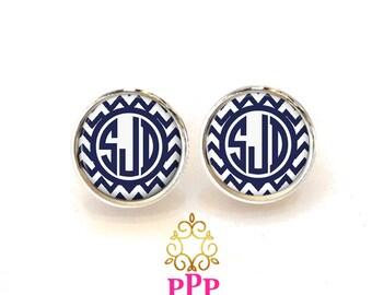 Chevron Monogram Earrings, Pendant Earrings, Silver Stud Earrings, Dangle Earrings, Personalized Studs, Personalized Jewelry, Gift (423)