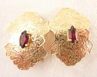 Vintage Marquise Garnet Ornate Gold-plated Sterling Artist Signed Clip On Earrings