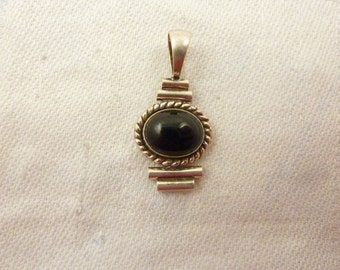 Vintage Sterling Silver and Onyx Pendant