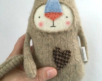 Small Cashmere Cat Stuffed Animal Upcycled Repurposed Sweater Oatmeal