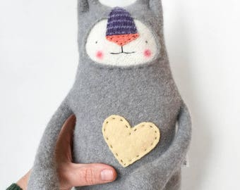 Stuffed Animal Lanky Cat from Upcycled Sweater
