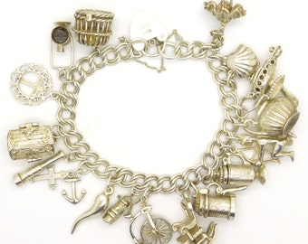 Vintage sterling silver English charm bracelet 17 Charms-Moving-opening-Chim-Flamenco-Cupid-treasure chest 1972-Heart padlock 73gr*FREE SHIP