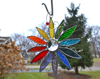 Rainbow Flower of Peace and Hope Stained Glass Suncatcher Diversity Love