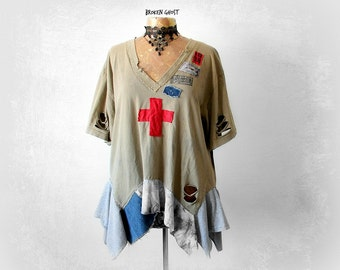 Destroyed Distress Plus Size T-Shirt V-Neck Shirt Rustic Clothing Women Grunge Top Aged Tatter Vintage Style Upcycled Clothes 1X 2X 'FRANKIE