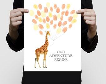 baby giraffe baby shower guest book print poster, fingerprint balloon nursery art personalised custom babies artwork sarafi theme animal art