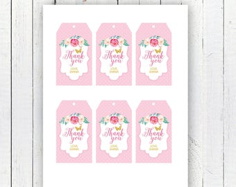 Peonies Thank You Tags, Customized Thank You Tags, Butterfly Thank You Tags, Printable Thank You Tags, Butterfly Garden