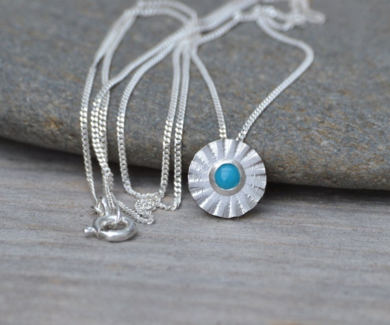 Turquoise Daisy Necklace Set in Sterling Silver and Fine Silver, December Birthstone Necklace Handmade in England