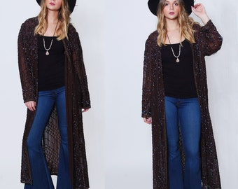 Vintage 80s SEQUIN Duster Long Sequin Jacket Glam LAYERING Piece BEADED Boho Kimono