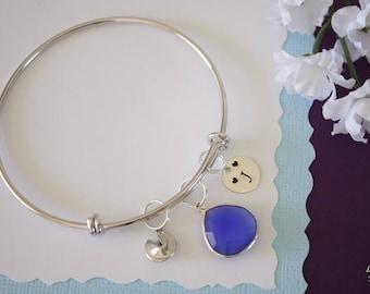 Initial Bangle Bracelet Silver, Mom Bangle, Expandable, Sterling Silver, Nana Bracelet, Mommy Charm, Friendship, Monogram, BFF, Blue