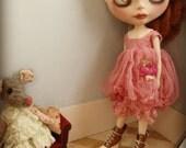 OOAK BLYTHE DRESS - Vintage Styled Shabby Elegance Tattered/Layered/Hand-Dyed Silk Dress  - Drab Coral Rose