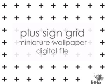"Digital Download ""Plus Sign Grid - black on white"" miniature dollhouse wallpaper"